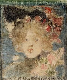 Art Prints on Paper - 12 x 14 inch Impressionism Portraits, People - Head of a Girl (with Roses) - by Maurice Prendergast