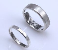 Fabulous mm mm Set Sterling Silver Custom Fingerprint by fabuluster I think this would be cute in regards to the wedding ring for the girl an u