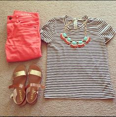 striped tee, colored skinnies, statement necklace