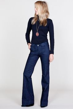 Love these jeans. Indigo bluebells and black turtleneck from Emersonmade Trouser Jeans, Wide Leg Jeans, Navy Jeans, Wide Leg Trousers, Denim Jeans, Skinny Jeans, Casual Outfits, Cute Outfits, Casual Clothes