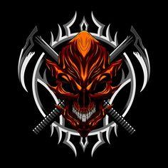 Devil evil skull and weapon Premium Vect...   Premium Vector #Freepik #vector #background #logo #vintage #design Apple Logo Wallpaper, Adobe Illustrator Tutorials, Vector Photo, Skull Art, Tee Design, Logo Nasa, Devil, Weapons, Badge