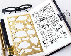 Matt brass metal stencil for your planner or journaling. Material: ------- Brass (New material, more yellowish than the old one) x 7 Fits: Midori Regular Travelers Notebook Organizer/Notebook SHIPPING FEE (with tracking): * Delivery time: Approx. Bullet Journal Book, Bullet Journal Essentials, Bullet Journal Stencils, Organization Bullet Journal, Bullet Journal Printables, Bullet Journal Inspiration, Bullet Journals, Travelers Notebook, My Planner Colibri