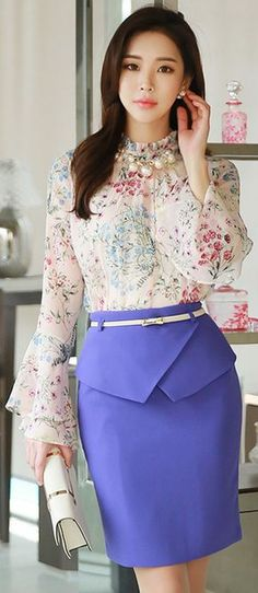 StyleOnme_Front Flap Detail Belted H-Line Skirt Work Fashion, Modest Fashion, Asian Fashion, Fashion Dresses, Fashion Looks, Lila Rock, Look Office, Purple Skirt, Korean Dress