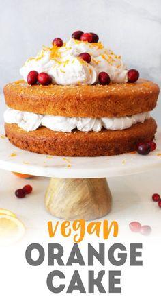 Vegan Orange Cake with Vanilla Coconut Whip Frosting Veganer Orangenkuchen mit Vanille-Kokosnuss Whip Frosting Nielsen-Massey Vanillas über Karissas Vegane Küche vegan (Visited 2 times, 1 visits today) Vegan Orange Cake Recipe, Vegan Cake, Vegan Lemon Cake, Vegan Dessert Recipes, Baking Recipes, Cake Recipes, Vegetarian Desserts, Vegan Vegetarian, Whipped Frosting