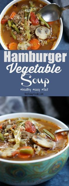 Hamburger Vegetable Soup recipe is warm, satisfying and full of healthy veggies. Pork And Beef Recipe, Beef Soup Recipes, Healthy Soup Recipes, Cooker Recipes, Yummy Recipes, Hamburger Vegetable Soup, Vegetable Soup Healthy, Vegetable Soup Recipes, Best Ground Beef Recipes
