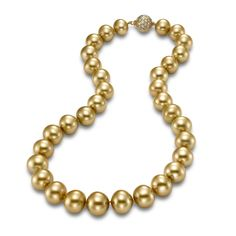 Golden South Sea Pearl, Diamond Pavé and 18K Gold Clasp Necklace