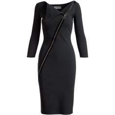 La Petite Robe Di Chiara Boni Dianthe 3/4-Sleeve Asymmetric Zip-Neck... ($750) ❤ liked on Polyvore featuring dresses, holiday cocktail dresses, long cocktail dresses, three quarter sleeve cocktail dress, v neck long dress and evening cocktail dresses