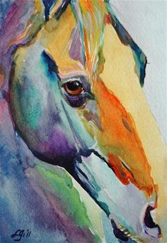 Horse watercolor by ©Lyn Gill (via DailyPaintworks)