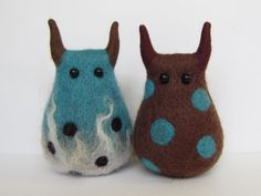 GUILTY AND THE DROOGIES  stuffed felted monsters - idea for a DIY - no instructions