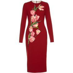 Dolce & Gabbana Tulip-appliqué crepe dress ($3,545) ❤ liked on Polyvore featuring dresses, red multi, tulip dress, red embellished dress, mid calf dresses, red tulip dress and midi dress