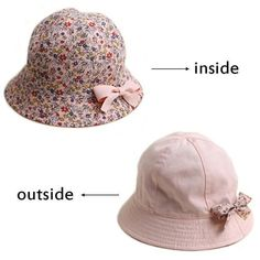 9beedcb6f76 Summer Flower Print Cotton Baby Hat Cap Kid Girls Floral Bowknot Caps Sun Bucket  Hats Double Sided