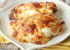 Creamy Swiss Chicken Bake. So easy and yummy! Served over white rice with asparagus.