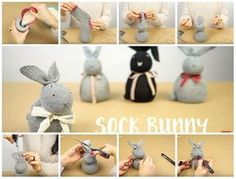 Easter bunnies without sewing by recycling socks.- Coniglietti pasquali senza cucire riciclando i calzini. How to make Easter bunnies by recycling socks. Perfect project to do with children: fast and easy to do and without needle and thread. Christmas Crafts For Adults, Holiday Crafts, Holiday Fun, Hoppy Easter, Easter Bunny, Cute Crafts, Crafts For Kids, Easter Activities, Camping Crafts