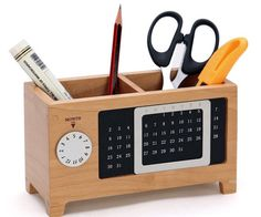 Wood Perpetual Calendar Storage Box