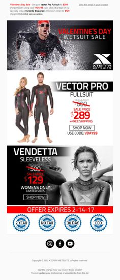 Valentine's Day Email from Xterra Wetsuits #EmailMarketing #Email #Marketing #ValentinesDay #Valentines #Day
