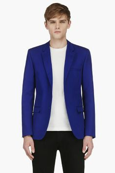Calvin Klein Royal Blue Blazer for men Blue Blazer Outfit, Blazer Outfits, Gq Fashion, Fashion Lookbook, Royal Blue Blazers, Calvin Klein Collection, Calvin Klein Men, Blazers For Men, Men Casual