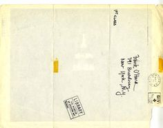 """christopherschreck: """" Front and back of a flyer for the premiere screening of Andy Warhol's """"Empire,"""" addressed to Frank O'Hara, New York, 1965 """""""