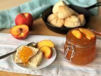 Peach Jam (makes 4 pints) Old Farmer's Almanac - Food: Veggie tables Chutney Recipes, Jam Recipes, Rhubarb Chutney, Peach Chutney, Pickled Pepper Recipe, Strawberry Jam Recipe, Old Farmers Almanac, Food Mills, Peach Jam
