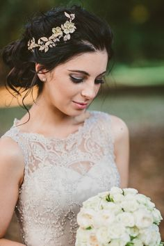 Beautiful Bride in a Champagne Wedding Gown. Click to see full gallery.