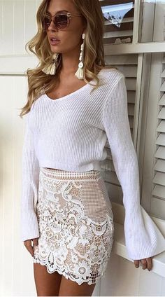 #summer #outfits White Bell Sleeve Crop Top + White Lace Skirt