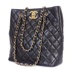 Chanel Black Lamb Jumbo Classic Shopping Shoulder Bag Tote