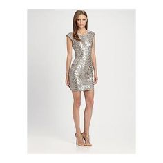 BCBGMAXAZRIA Vallissa Geometric Sequin Dress - Light Stone Combo