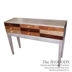 Rustic Whitewash of Console Table - Rustic Furniture in Pop Art Style.