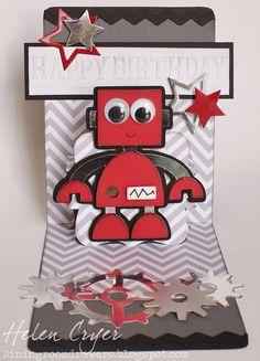 The Dining Room Drawers: Pop 'n Cuts/Cricut Robot Birthday Card Source by . Cricut Birthday Cards, Birthday Cards For Boys, Kids Birthday Cards, Cricut Cards, Boy Cards, Pop Up Cards, Kids Cards, Marianne Design, Legos