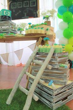 Starting school theme, rustic theme, chalkboard theme, Green and teal colour scheme. Dessert buffet setup