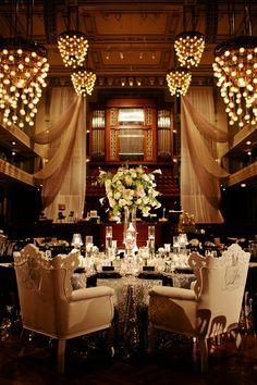 Sweetheart table opulence. Rentals: Nuage Designs | Rentals: Visual Elements | Rentals: BBJ Linen | Rentals: Music City Tents & Events. Planner: Angela Proffitt. Read More: http://www.stylemepretty.com/2014/05/27/classic-nashville-wedding-at-the-schermerhorn-symphony-center/