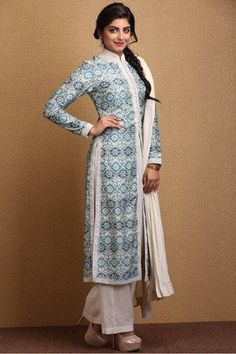 Straight,Biba,Power Blue Straight Cotton Silk Suit Set By Rohit Bal