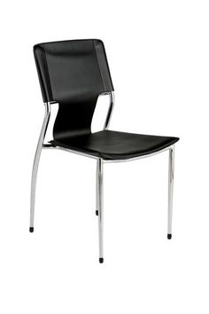 Euro Style 04411 Terry Stacking Side Chair in Black Leatherette with Chrome Legs - Set of 4 Modern Dining Chair