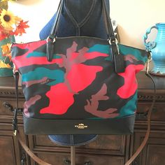 Coach Bnwt Nylon Camouflage Satchel Multi Camouflage Cross Body Bag. Get  the trendiest Cross Body 7510409766ea6