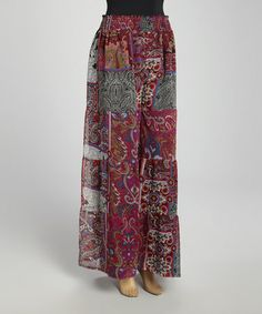 Take a look at this Fuchsia Patchwork Palazzo Pants by Ash & Sara on #zulily today!