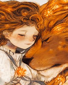 Draw Lions Lion and girl, fantasy, artwork, wallpaper -