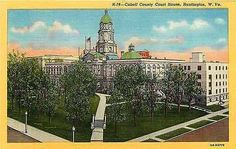Huntington West Virginia WV 1940 Cabell County Court House Vintage Postcard