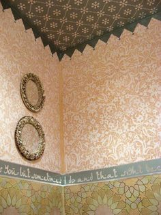 """Loving the colors and the pattern for the """"lace"""" look I'm considering for the bedroom (within the wall molding)"""