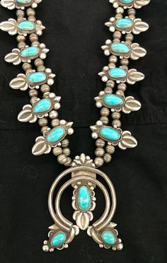 Vintage 1950's Navajo Squash Blossom Necklace by SouthwestFindings, $960.00