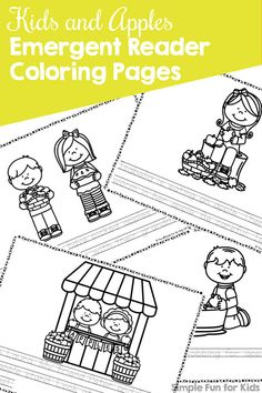 Kids and Apples Emergent Reader Coloring Pages, perfect for fall and for coloring, reading, tracing, and more! {Part of the 7 Days of Apple Printables for Kids series. Autumn Activities For Kids, Printable Activities For Kids, Kids Learning Activities, Alphabet Activities, Kindergarten Activities, Teaching The Alphabet, Learning Letters, Play To Learn, Learn To Read