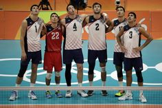 US men's volleyball team beats France, stays in medal chase:  August 13, 2016  -     Members of the United States team from left, Matthew Anderson, Erik Shoji, David Lee, Aaron Russell, Micah Christenson, and Taylor Sander wait for the results of a challenge during a men's preliminary volleyball match against France at the 2016 Summer Olympics in Rio de Janeiro, Brazil, Saturday, Aug. 13, 2016. (AP Photo/Matt Rourke)