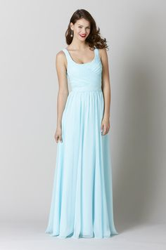 Ice Blue Chiffon Bridesmaid Dress with Square Neckline - Gorgeous and Timeless:Best Blue Bridesmaid Dresses 2016 - EverAfterGuide