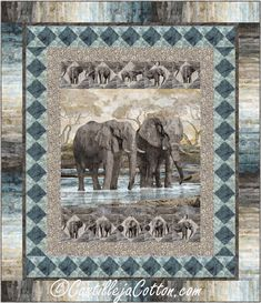 """Uses a panel and simple pieced borders. Double/Full panel quilt pattern. Finished Size: Double/Full 74 x 86"""" Skill Level: Advanced Beginner Technique: Pieced Elephant Quilts Pattern, Quilt Patterns, Quilting Templates, Panel Quilts, Fabric Panels, Rugs, Elephants, Prints, Gardens"""