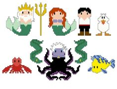 Little Mermaid Pixel People Character PDF pattern by CheekySharkLabs
