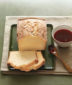 Citrus Pound Cake With Cranberry Syrup | Get the recipe: http://www.realsimple.com/food-recipes/browse-all-recipes/citrus-pound-cake-cranberry-syrup-10000001548151