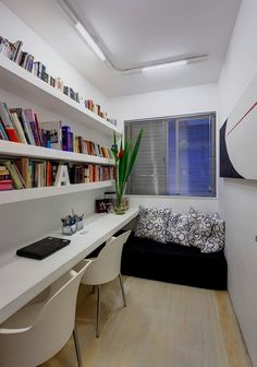 Great use of a small space! Floating shelves really allow you to utilize open wall space efficiently and awesomely!