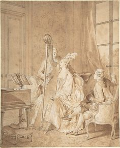 Perfect Harmony Jean-Michel Moreau the Younger (French, Paris 1741–1814 Paris) Date: 1776 Medium: Pen and brown ink, brown wash, over traces of graphite Dimensions: 10 1/2 x 8 1/2 in. (26.7 x 21.6 cm.) Classification: Drawings Credit Line: Bequest of Emma A. Sheafer, The Lesley and Emma Sheafer Collection, 1974 Accession Number: 1974.356.48