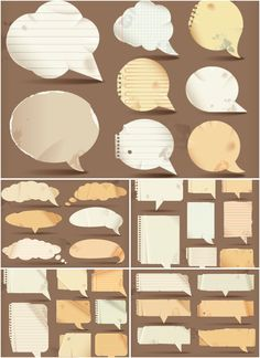 Speech bubbles from paper vector. 5 sets of vector speech bubbles made from paper for your comics designs. Format: EPS stock vector clip art. Free for download. The link has been removed, please, check out the authors page: Speech bubbles…