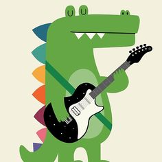 Croco Rock, a guitar rockin' crocodile, by Andy Westface at Redbubble.