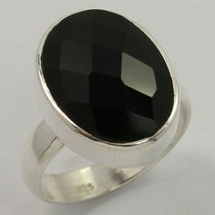 Trendy Ring Size US 5.75 Natural BLACK ONYX Checker Gemstone 925 Sterling Silver #Unbranded Silver Jewellery Indian, Black Onyx Ring, Green Onyx, Amethyst Gemstone, Handcrafted Jewelry, Sterling Silver Jewelry, Gemstones, Natural, Handmade Chain Jewelry