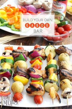 It& summertime baby! And what better way to kick off the backyard grilling season than with a Build Your Own Kabob Bar! You have a little bit of everything, and create a build-your-own kabob bar for your friends, and let them customize their own meal! Sandwich Bar, Roast Beef Sandwich, Campfire Cooking Recipes, Slow Cooking, Grilling Recipes, Cooking Oil, Fruit Recipes, Summer Recipes, Kabob Recipes